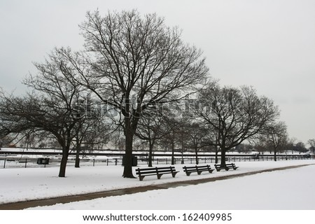 snowy on christmas time in Chicago, IL, USA - stock photo