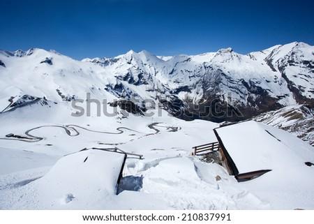 Snowy panorama along the Gross Glockner alpine road in Austria - stock photo