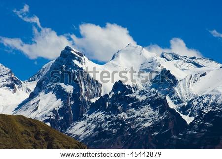 snowy peaks - stock photo