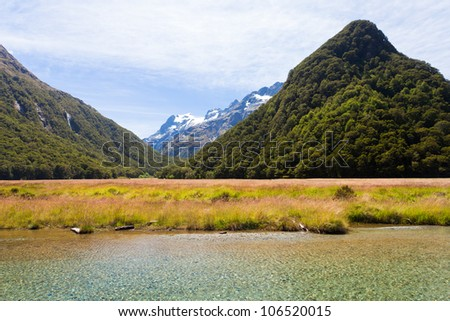 Snowy peaks and glacial valleys of Humboldt Mountains vista from Routeburn Track hiking trail, Southern Alps, New Zealand - stock photo