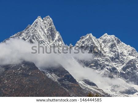 Snowy peaks near Tengboche monastery - Everest region, Nepal, Himalayas - stock photo