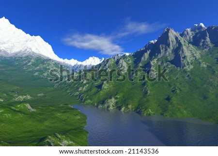 snowy peaks scenery with lake - stock photo