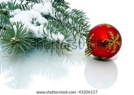 Snowy pine Christmas decorations on a white background. - stock photo