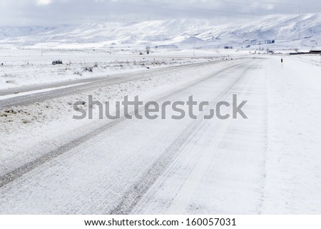 snowy road in Teruel, Spain - stock photo