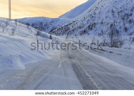 Snowy road on Senja Island, Troms county, Norway
