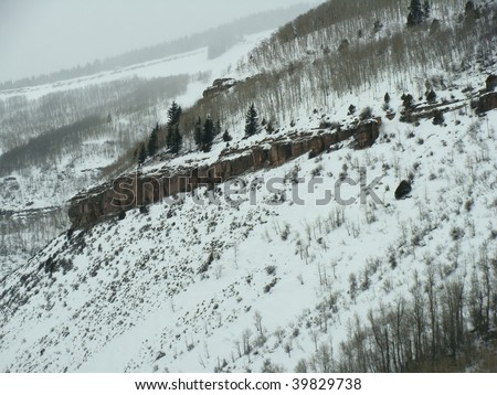 snowy rocky cliffs