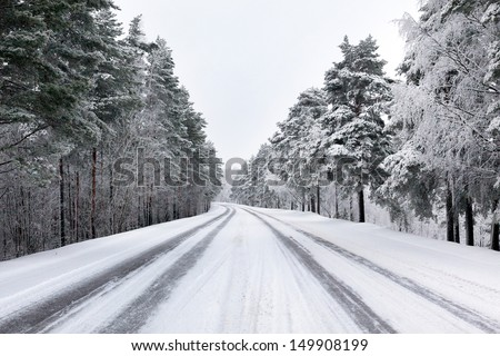 Snowy street through forest - stock photo