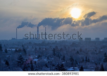 Snowy Thermal-electric power station in Warsaw