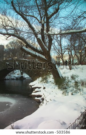 Snowy trees by a bridge in New York's Central Park - stock photo