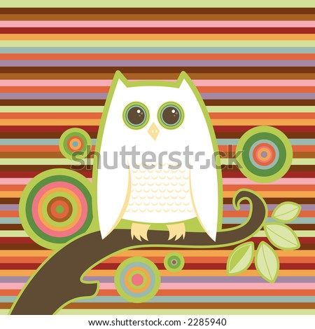 Snowy white owl perched on a limb - colorful stripe and circle background - stock photo