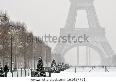 Snowy winter day in Paris - stock photo