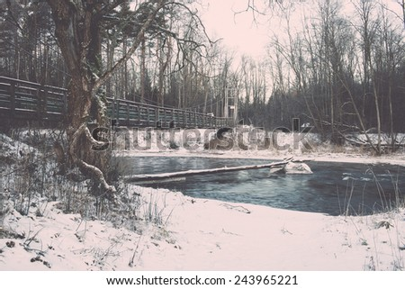 snowy winter forest landscape with snow covered trees and blue sky - retro vintage