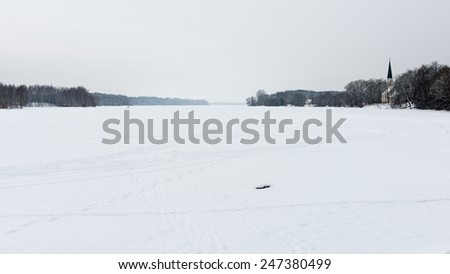 snowy winter forest landscape with snow covered trees in country - stock photo