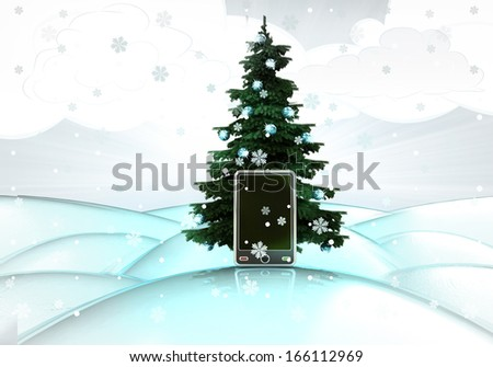 snowy winter landscape with xmas tree and new smart phone illustration - stock photo