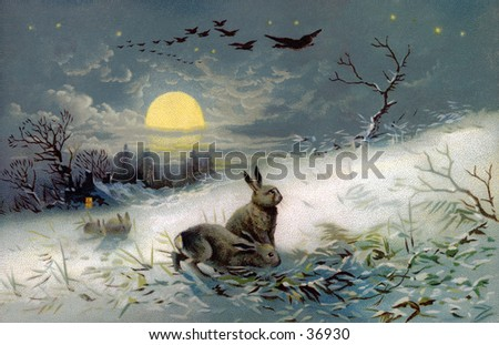 Snowy Winter Night - an early 1900s vintage illustration. - stock photo