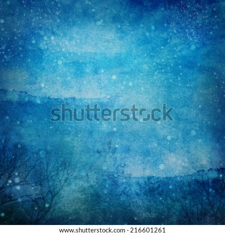 Snowy Winter Night Grunge Texture  Abstract grunge abstract snowy winter night background with some noise and canvas texture - stock photo