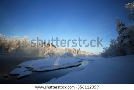 Snowy winter. River in the forest. Russia.