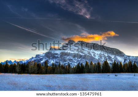 Snowy winter scenery in the Canadian Rocky Mountains - Kananaskis Country Alberta Canada - stock photo