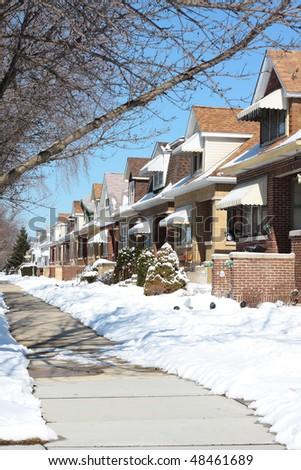 Snowy Winter Street in Chicago, Jefferson Park Neighborhood - stock photo