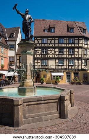 So called Schwendi Fountain in Colmar/France - stock photo