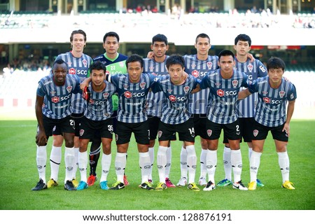 SO KON PO,HONG KONG-FEBRUARY13:Players of SCG MTUTD shot for photo during  the Lunar New Year Cup 2013 match between HK League and SCG MTUTD at Hong Kong Stadium on Feb13,2013 in,Hong Kong. - stock photo