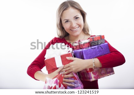 So many presents on valentine's day - stock photo