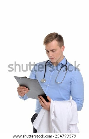 So the diagnosis is quite unexpected. Portrait of a young doctor looking for the best decision to treat a patient .  - stock photo