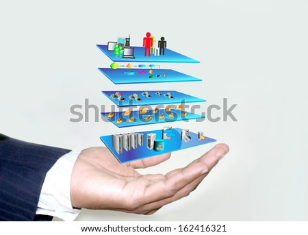 SOA Layered Architecture in Business mans hand - stock photo
