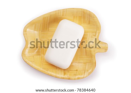 soap and soap dish top view isolated on white with path - stock photo