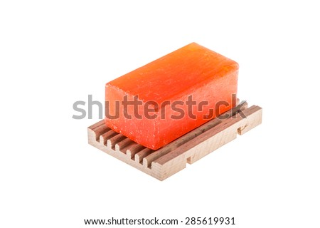 soap bar isolated on white - stock photo