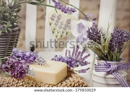 soap bars and lavender decoration - stock photo