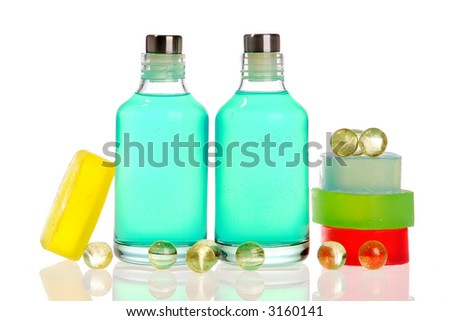 Soap bars. soap balls, and spa bottles