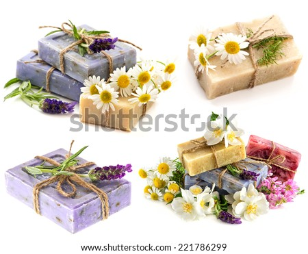 soap bars with fresh lavender, chamomile and jasmine flowers isolated on white background
