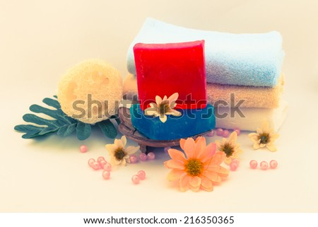 soap body care product on vintage background