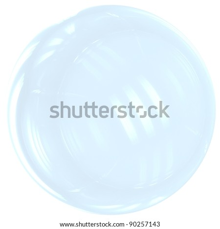 Soap Bubble ball translucent colored cyan blue.3d render. Isolated on white background