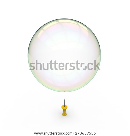 Soap bubble hovering over a yellow drawing pin on a white background - stock photo