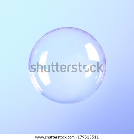 Soap Bubble isolated on blue turquoise gradient background - stock photo