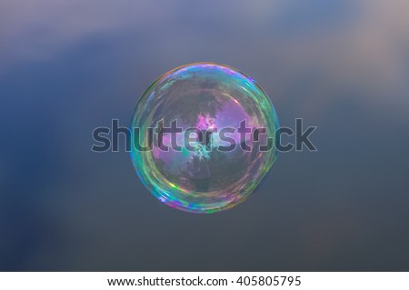 Soap bubble on the sky background - stock photo