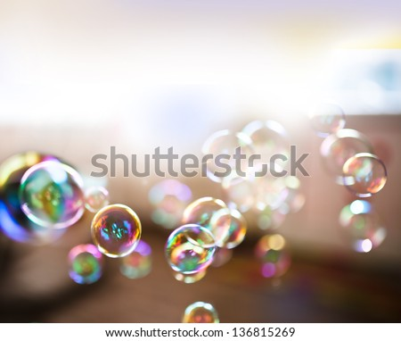 Soap bubbles, abstract background - stock photo