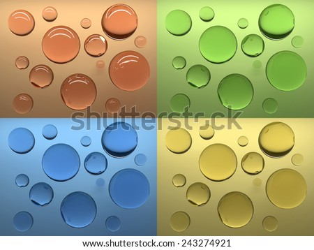 Soap bubbles at coloured background.3d render illustration - stock photo