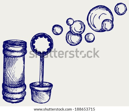 Soap bubbles. Doodle style. Raster version - stock photo