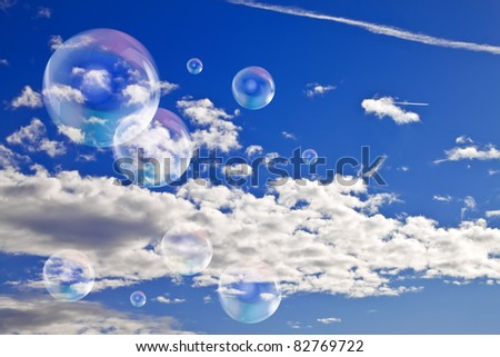 Soap bubbles in the sky - stock photo