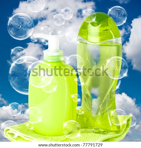 soap bubbles on cloudy sky background - stock photo
