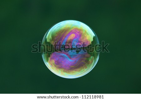 Soap bubbles on water natural background - stock photo