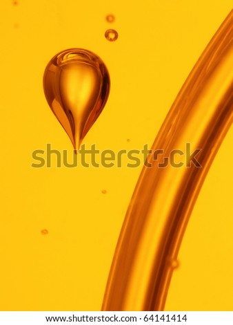 soap bubbles orange liquid background - stock photo