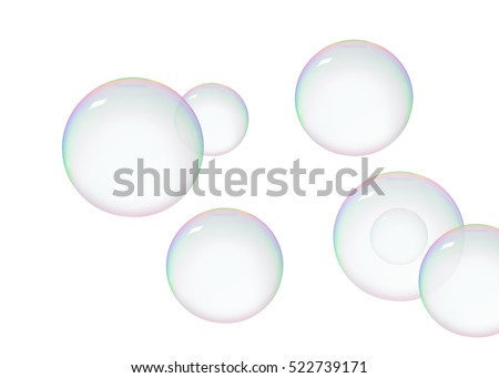 Soap bubbles soars over a white background
