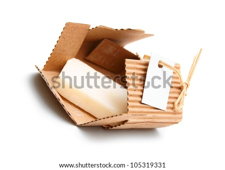 Soap in a box. On a white background.