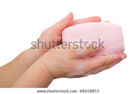 soap in child's hands - stock photo