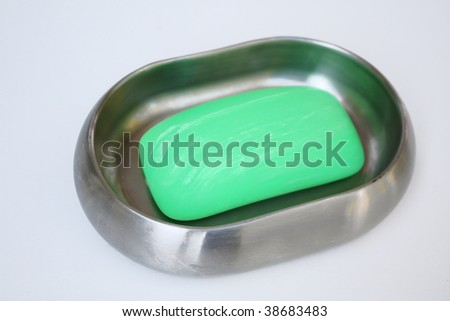 Soap in soap dish - stock photo