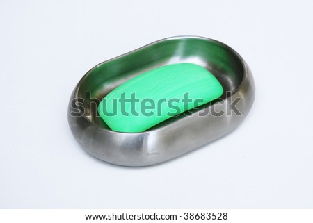 Soap in soapdish - stock photo